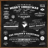 Set of Xmas and Happy New Year Labels with retro vintage styled design. Christmas decoration collection. Calligraphic and typographic elements, labels, signs. Deer head. Eps 10 vector illustration. — Stockvektor