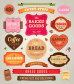 Set of retro bakery labels, ribbons and cards for vintage design, old paper textures — Stock Vector