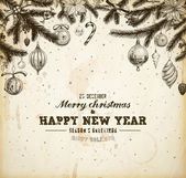 Mano de navidad dibujado árbol de piel para el diseño de navidad. con bolas, juguetes, bastón de caramelo, muérdago, bayas de acebo y abeto-cono. textura de papel viejo para diseño de invitación de navidad vintage. — Vector de stock