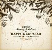 Weihnachten handgezeichnete pelz baum für xmas-design. mit kugeln, spielzeug, zuckerstange, mistel, holly beeren und tanne-kegel. alt papier textur für vintage xmas-einladung-design. — Stockvektor