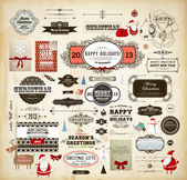 Christmas decoration collection Set of calligraphic and typographic elements, frames, vintage labels. Ribbons, stickers, Santa and snowman, cartoon deer, birds, gifts, tree, bows, cards and baubles — Vecteur