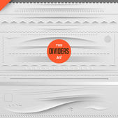 Big set of vector dividers for web design with seamless paper background — Stockvector