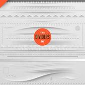Grande set di divisori vettoriale per il web design con sfondo di carta senza soluzione di continuità — Vettoriale Stock