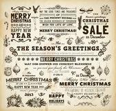圣诞装饰集合集书法和排版的元素、 框架、 复古标签。丝带,蝴蝶结,鸟与赫莉浆果-所有的圣诞设计的毛皮树分支上的小玩意. — 图库矢量图片