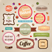 Set of retro bakery and coffee labels, ribbons and cards for vintage design, old paper textures — Stock Vector