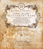 Restaurant label design with old floral frame for vintage menu design — Stock Vector