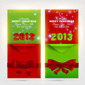 Greeting Christmas cards with red bows and curled corner paper for Xmas design. With stars and glow snowflakes. 2013 — Stockvektor