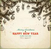 クリスマス手描きクリスマス デザインの毛皮ツリー。ボール、おもちゃ、キャンデー杖、雪だるま、靴下、心、ギフト、ヤドリギ、ヒイラギの果実と fir コーン。ビンテージ クリスマスの招待状のデザインのための古い紙のテクスチャ. — ストックベクタ