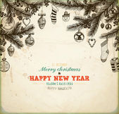 Vánoční ručně tažené srst strom pro vánoční design. s míčky hračky, sladkosti, cukrové třtiny, sněhulák, ponožky, srdce, dárky, jmelí, cesmína bobule a smrkové šišky. starý papír textury pro ročník vánoční pozvání design. — Stock vektor