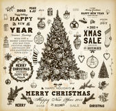 Christmas decoration collection Set of calligraphic and typographic elements, frames, vintage labels, ribbons, mistletoe, holly berries, fir-tree branches, balls, Christmas socks and snowman. — Stockvektor