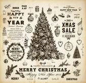Set de colección de la decoración de navidad de elementos tipográficos y caligráficos, marcos, etiquetas vintage, cintas, muérdago, acebo bayas, ramas de abeto, pelotas, medias de navidad y muñeco de nieve. — Vector de stock
