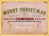 用拐杖糖和 grunge 背景圣诞邀请设计复古圣诞贺卡 — 图库矢量图片