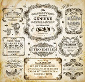 Vector set of calligraphic design elements: page decoration, Premium Quality and Satisfaction Guarantee Label, antique and baroque frames Old paper texture with dirty footprints of a cup of coffee. — Stock Vector