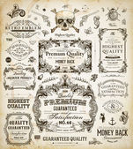 Vector set of calligraphic design elements: page decoration, Premium Quality and Satisfaction Guarantee Label, antique and baroque frames — Vettoriale Stock