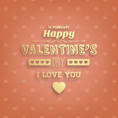 Happy Valentines Day Golden Card Design. — Stockvector