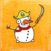 Cartoon Snowman. — Stock Vector