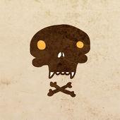 卡通骷髅头骨,上面有胡子. — 图库矢量图片
