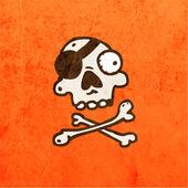 Cartoon Skeleton Skull with Mustache. — Stock Vector