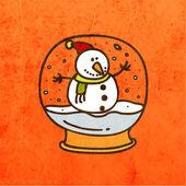 Snowman in Christmas Snow Globe. — Stock Vector