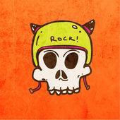 Biker Skull with Helmet. — Stock Vector
