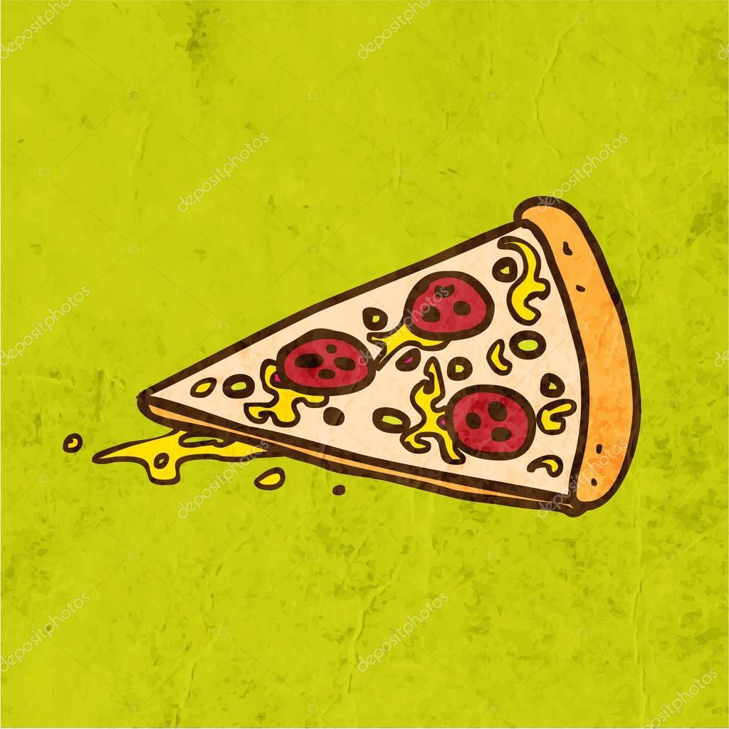 比萨饼.可爱的手绘矢量图