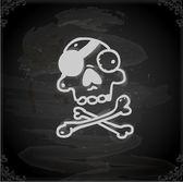 Skull Cute Hand Drawn — Stock Vector