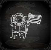 Cosmonaut with USA flag. — Stock Vector