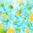 Постер, плакат: Ice background with leafs lemons and sun shine