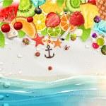 Summer holidays vector illustration set with palms, sun, sea — Stock Vector