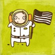 Spaceman with USA Flag. — Stock Vector