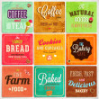 Set of retro bakery label cards for vintage design — Stock Vector