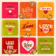 Set of Love and weeding label cards with flowers and hearts — Stock Vector #43229001