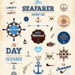 Vector sea set: calligraphic retro design elements — Stock Vector #43229015