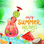 Summer holidays vector illustration set with cocktails — Stock Vector