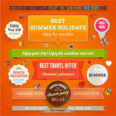 Retro elements and labels for Summer designs — Stock Vector