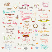 Set of vintage bakery badges, hand drawn lettering — Stock Vector