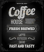 Chalkboard Poster Lettering Coffee — Stock Vector