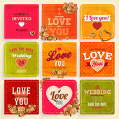 Set of Love and weeding label cards with flowers and hearts — Stock Vector