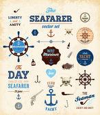 Vector sea set: calligraphic retro design elements — Stock Vector