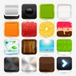 Apps icon set: strawberry, orange, camera, cake — Stock Vector