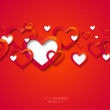 Valentine's Day Background with Red Hearts. — Stock Vector