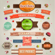 Set of vector retro ribbons, old dirty paper textures and vintage labels — Stockvektor  #43258921