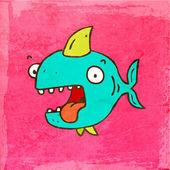Blue Cartoon Shark. — Stock Vector