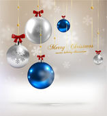 Christmas balls, silver and blue Xmas baubles — 图库矢量图片