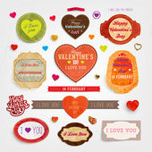 Happy Valentines Day Cards Set for Vintage Holiday — Stock Vector