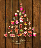 Christmas Tree made of Xmas icons — Vettoriale Stock