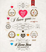 Set of Happy Valentine's Day Labels — Stock Vector
