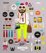 Hipster elements and icons set with Hipster Character — Stock Vector