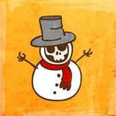 Cartoon Skeleton Snowman. — Stock Vector