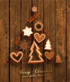 Hanging Gingerbread Christmas Cookies — Vector de stock